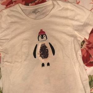 J Crew Sequin Penguin Collector Tee
